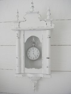 Love this idea! Wall clock with pocket watch inside! Whitewashed Chippy Shabby chic French country rustic Swedish decor idea.. ***Pinned by oldattic ***.