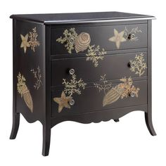 Hand-painted wood chest with seashell and coral motif.   Product: ChestConstruction Material:  WoodCo...