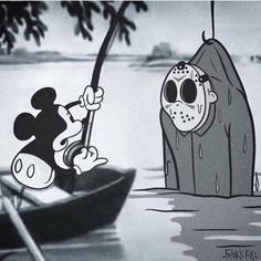 Art by Frank's kid - - Mike Chiechi - horror - horrorart - Disney - deviant - vintage - Mickey - Jason Voorhees - Friday The Disney Horror, Horror Cartoon, Funny Horror, Horror Icons, Horror Films, Horror Movie Quotes, Creepy Horror, Horror Movie Characters, Classic Horror Movies