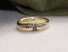 Wedding Band Men's 14K Tree Of Life Tapered // by LStellaJewelry