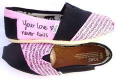 The Eisley - Light Pink and Black Custom TOMS. $110.00, via Etsy. 1 Corinthians 13:4-7