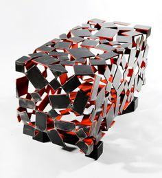Nicolas DESBONS Monolithe//Console basse en acier patiné.//H50-90x50cm.