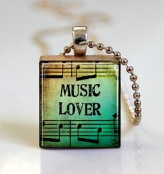 Music Lover Sheet Music Necklace Scrabble by MissingPiecesStudio, $7.95