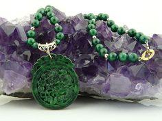 Ferocious Asian Influenced, Handcarved Dragon Natural Malachite Pendant and Necklace from Malibu Jewelry Arts on Ruby Lane