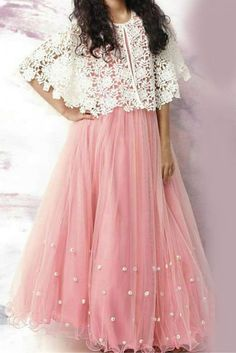 Youdesign Tulle Lace Cape Dress In Pink Colour To try in tatting Long Dress Design, Stylish Dress Designs, Designs For Dresses, Stylish Dresses, Indian Gowns Dresses, Indian Fashion Dresses, Indian Outfits, Fashion Outfits, Eid Outfits