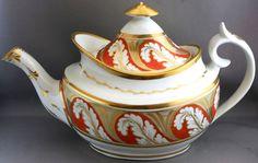 Antique Unmarked Teapot Gold Orange Leaf Design J 265   eBay