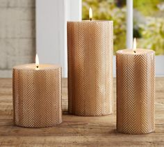 Gold Herringbone Pillar Candles