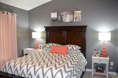 grey room with coral - Google Search