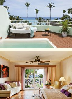 Excellence Club Terrace Suite Ocean Front: Our spacious (550 sq. ft.) Excellence Club Terrace Suites features expansive (452 sq. ft.) private terrace with comfortable lounge furniture, and an exterior HidroSpa pool and spectacular front views of the Caribbean Sea. King bed