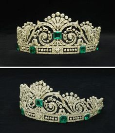 An emerald and diamond tiara in a fitted case by Marzo. The central square-cut emerald set amidst a tapering openwork panelof scrolling foliate motifs, mounted atop a band set with six graduated cut-cornered step-cut emeralds interspersed with openwork pa Royal Crowns, Royal Tiaras, Tiaras And Crowns, Diamond Tiara, Diamond Cuts, Emerald Diamond, Royal Jewelry, Fine Jewelry, Geek Jewelry
