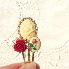 Garden Rose  Flower Bobby Pin Set by NestingPretty on Etsy, $16.00