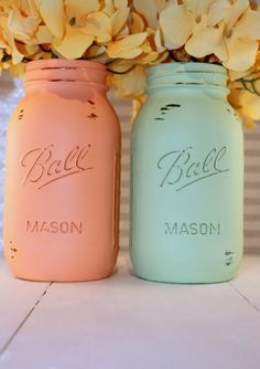Painted Mason Jars Peach and Mint Green Painted by TooCuteWreath, $14.00