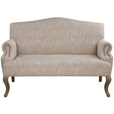 Deneva French Country Rustic Beige Cabriole Loveseat (2 430 BGN) ❤ liked on Polyvore featuring home, furniture, sofas, bone furniture, cream colored furniture, cream colored sofa, ivory couch and beige couch