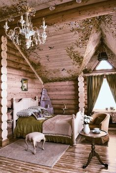 girl's room - Oh my, what a cute room. I have always wanted a log home to hang my chandelier that I saved from a French style home I once had.  I was going to add elegance to my dining room with the rustic style and my great formal dining room set and lighting! Still want to do it.