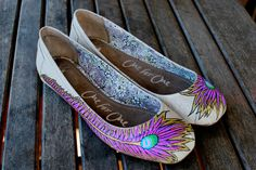 Hand Painted Peacock Feather TOMS Ballet Flats. LOVE!