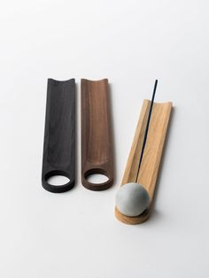 A concrete sphere allows your incense sticks to overhang gently over a bed of wood. Materials: Concrete / Walnut wood Dimensions: 2 x 2 x 12 Incense Cones, Incense Sticks, Insence Holder, Incense Packaging, Ceramic Incense Holder, Diy Incense Holder, Keramik Design, Light Well, Incense Burner