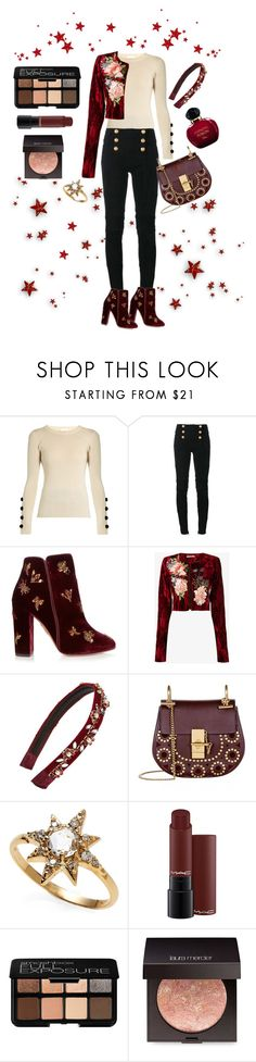 """Burgundy Fall Fashion Style"" by keepfashion92 ❤ liked on Polyvore featuring See by Chloé, Balmain, Aquazzura, Alice Archer, Cara, Chloé, Anzie, Smashbox, Laura Mercier and Christian Dior"