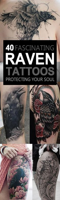 40 Fascinating Raven Tattoos protecting your soul
