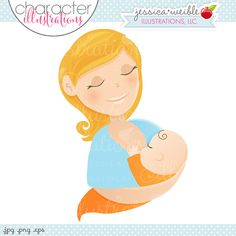 Blonde Woman Breastfeeding Character by JWIllustrations on Etsy, $5.00