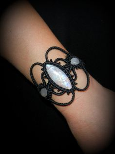moonstone macrame bracelet