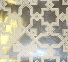 Haddon Hall Flock Wallpaper Hexagon design in cream flock on silver foil paper