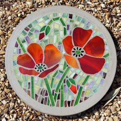 MADE TO ORDER Poppy garden feature 300mm Glass Mosaic Concrete Stepping stone £40.00