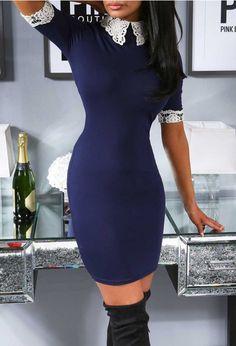 6cbbf9dcd0 Danica Navy Lace Detail Bodycon Mini Dress