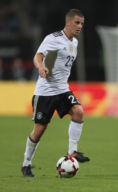 Diego Demme of Germany kicks the ball during the FIFA 2018 World Cup Qualifier between Germany and San Marino at Max Morlock Stadion on June 10, 2017 in Nuremberg, Bavaria.