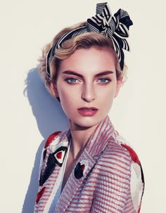 Rose Smith wears a 1930's inspired makeup look with Giorgio Armani jacket for How to Spend It Magazine June 2016 issue