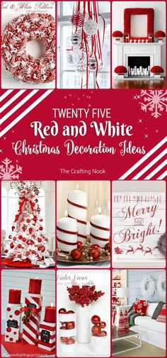 25 Red and White Christmas Decoration Ideas Need some cool ideas and inspiration to decorate your home this holiday Season? Check out these 25 Red and White Christmas Decoration Ideas and have fun! Candy Cane Christmas, Noel Christmas, Christmas Projects, White Christmas, Christmas Wreaths, Christmas Island, Christmas 2019, Christmas Vacation, Outdoor Christmas