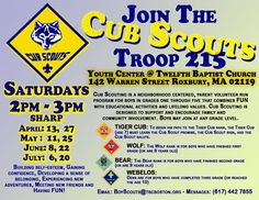 cub scout pack meeting flyer-newsletter idea