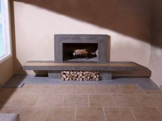 Wood Flooring Fireplace Surround | Hand Made Concrete Fireplace Surround & Hearth With Wood Inlay by TAO ...