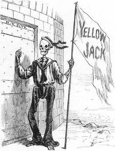 YellowJack.Engravingfrom FrankLeslie 'sIllustratedNewspaper ,  21September1883.NewYorkAcademyofMedicine.    Inthiscartoon,Death,dressedintheuniformofanItaliansailor,bringsyellow  fever—popularlycalledYellowJack—toNewYork'sdoor.Thecartoon'ssocialand  politicalimplicationsduringadecadewhenmillionsofimmigrantsarrivedin  Americanportsneedednocaption.