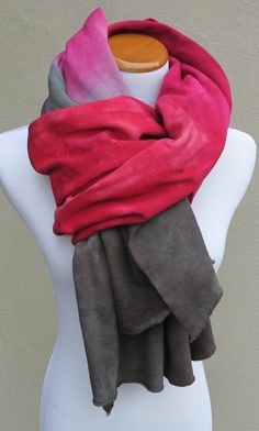 Bamboo Fleece Dip Dyed Extra Long Scarf Hand by JenniferLynDesigns