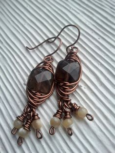 copper herringbone wire wrapped faceted by RisingDawnBoutique