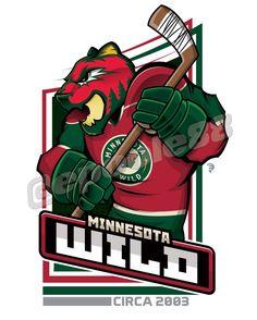 A bear wearing the 2003 Minnesota Wild jersey colored in green & red. Hockey Logos, Nhl Logos, Sports Logos, Wild Hockey, Helmet Logo, Team Mascots, Minnesota Wild, National Hockey League, New York Rangers