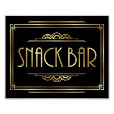 #Gatsby Art Deco SNACK BAR Sign Print - #deco #gifts