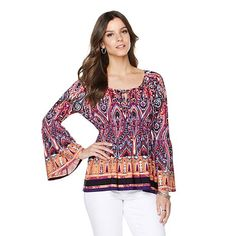 "Colleen Lopez ""Daylight Poppy"" Peasant Blouse"