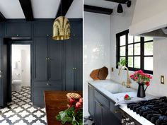 Nice kitchen design with dark grey cabinets, brass pendant light and black&white floor tile