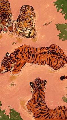 "Creative Drawing ""Tiger Beach"" by Vincent Cecil on INPRNT - This is a gallery-quality giclée art print on cotton rag archival paper, printed with archival inks. Inspiration Art, Art Inspo, Posca Art, Wow Art, Aesthetic Art, Aesthetic Painting, Beach Aesthetic, Purple Aesthetic, Summer Aesthetic"