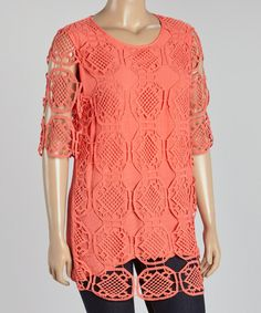 Look what I found on #zulily! Coral Lace Sheer-Sleeve Top - Plus by IRE #zulilyfinds