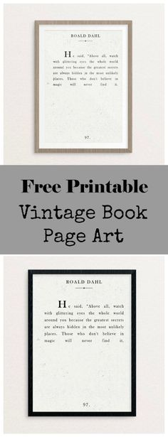 Vintage book page art - a free printable! Add a custom touch by printing onto canvas or making your own wood frame.