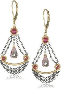 Dana Kellin Small Chandelier Pink Quartz with Chain Swag Detail Drop Earrings