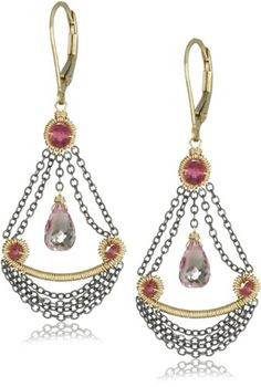 Dana Kellin Small Chandelier Pink Quartz with Chain Swag Detail Drop Earrings
