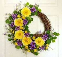 Spring Daisies Spring Wreath Front Door Wreath by Floralwoods, $57.00