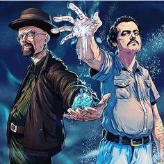 Walter White and Pablo Escobar Breaking Bad Narcos Breaking Bad Poster, Breaking Bad Arte, Breaking Bad Tattoo, Pablo Escobar, Heisenberg, Narcos Escobar, Geeks, Breakin Bad, Films Marvel