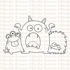 Digital stamp  Three Monsters por BirdieBrown en Etsy, $2.50