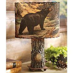 Bark Lamp w/ Bear & Moose Shade