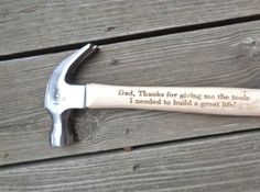 Engraved Hammer Thanks for Giving Me the Tools I Needed To Build A Great Life Gift for Dad, daddy, christmas gift for dad Fathers Day Gift Engraving by: Creative Butterfly XOX Cool Fathers Day Gifts, Fathers Day Sale, Daddy Gifts, Cool Gifts, Gifts For Dad, Christmas Gift For Dad, Great Life, Good Good Father, Nature Crafts