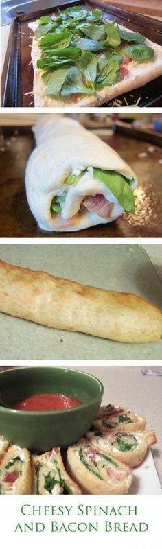 Cheesy Spinach and Bacon Bread - Joybx